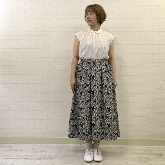 Parkes - 綿麻フラワープリントセットアップ(ギャザースカート)