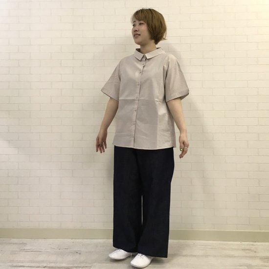 Parkes - 綿麻ボイルワッシャー涼しい5分袖のシャツ(共布くるみ釦)