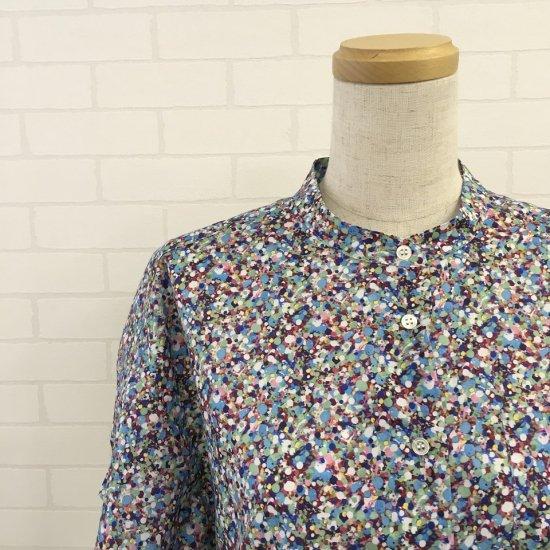Parkes - バンドカラー 左ポケット5部袖シャツ(リバティコレクション)