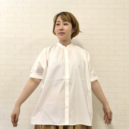 Vincent et Mireille - バンドカラー 半袖 ギャザー シャツ VM201NW16012