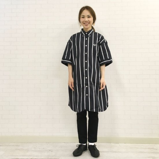 FRED PERRY - STRIPED BUTTON DOWN SHIRT DRESSストライプチュニック(F8560)