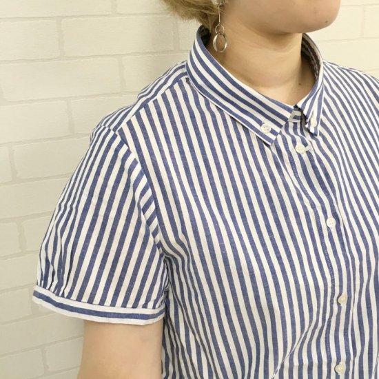 Parkes - ブロード チビ襟ボタンダウンの半袖シャツ