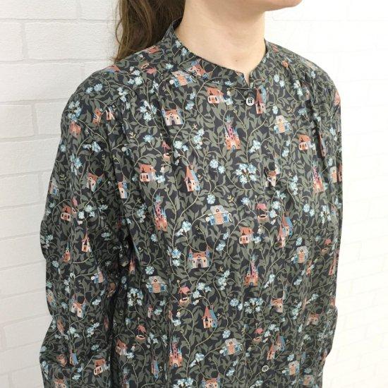 Parkes - バンドカラーのシャツワンピース(リバティコレクション)