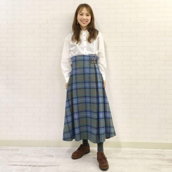 O'neil of Dublin - 左2本ベルト ハイウエストAラインスカート(レングス:85cm丈)