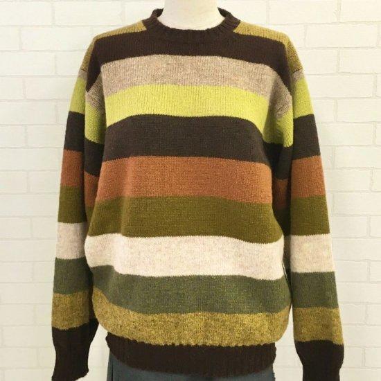 Jamieson's - シェットランドウール ボーダー柄クルーネックセーター (正規取扱品)