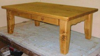 木製テーブル / 引出し付きローテーブル / カントリー家具 / サイズW900×D600×H400