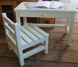 木製子供机とイス / チャイルドテーブルセット / ままごと机とイス / カントリー家具