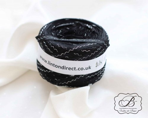 イギリス製 LINTON Black×Silver Ladder Yarn