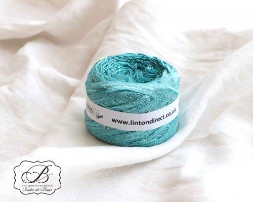 イギリス製 LINTON Aqua & Silver リボン Yarn