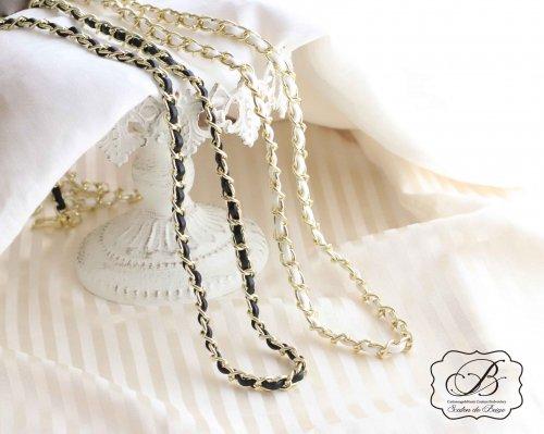 革入りゴールドバッグチェーン(シングル)ブラック/ホワイト