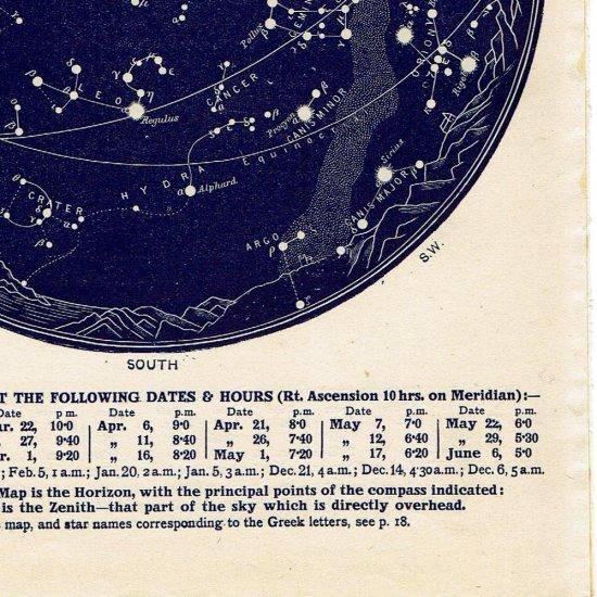 アンティーク星図プリント 天文学・星座(3月4月MAP6)
