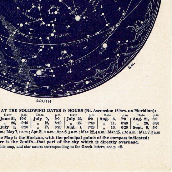 アンティーク星図プリント 天文学・星座(6月7月MAP9)