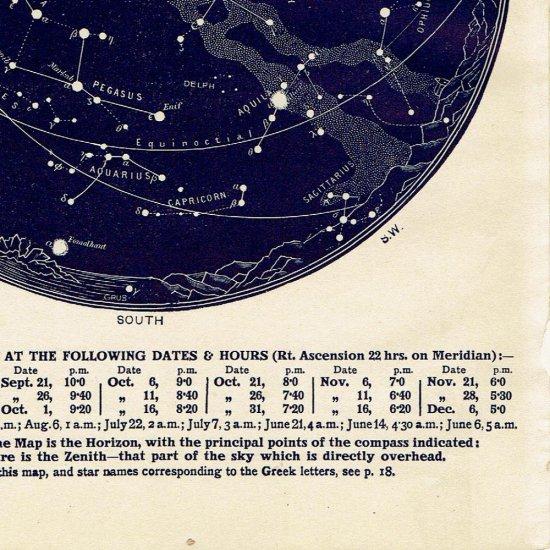 アンティーク星図プリント 天文学・星座(9月10月MAP12)