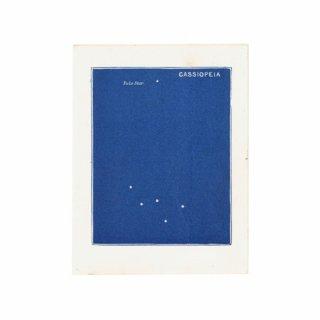 アンティークプリント 天文学・星座(カシオペア座・北極星)