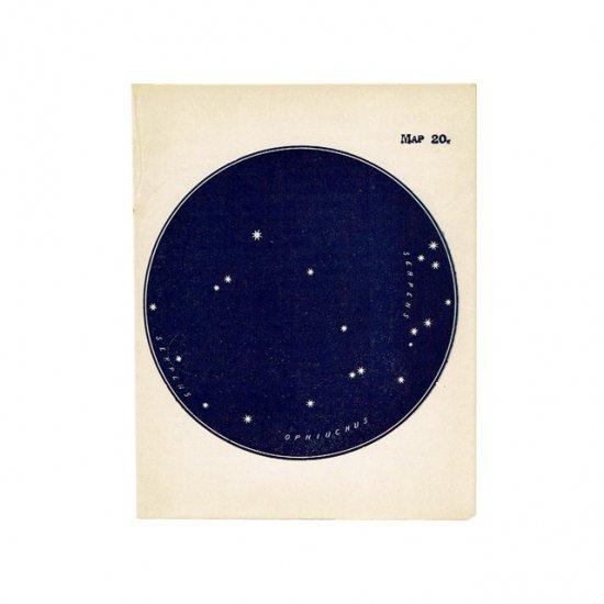 アンティークプリント 天文学・星座(へび座/へびつかい座MAP20)