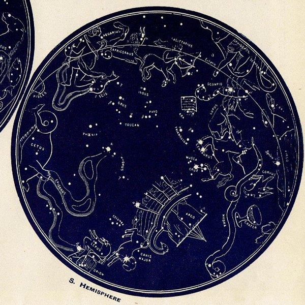 アンティーク古い星座マップ・赤道領域の星の地図プリント