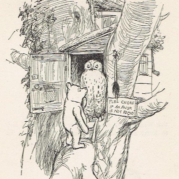 ヴィンテージプリント くまのプーさん(クラシックプー フクロウの家)