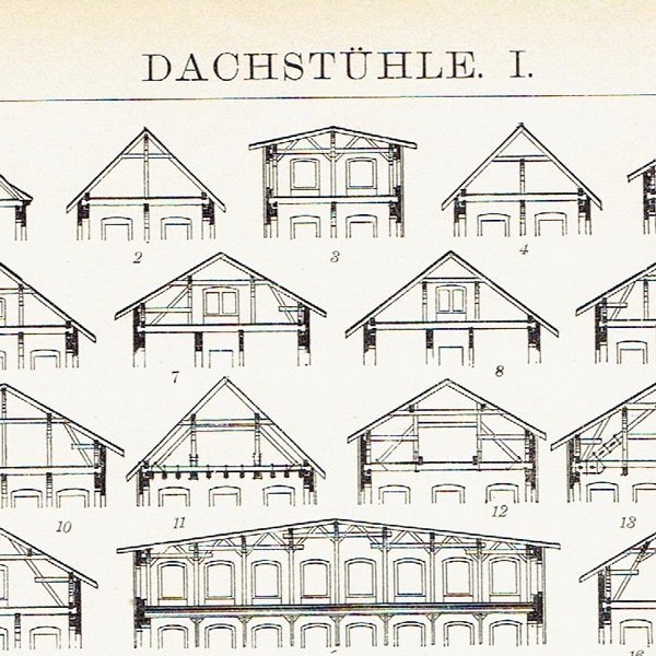 アンティーク建築プリント 屋根の構造(ドイツ製)