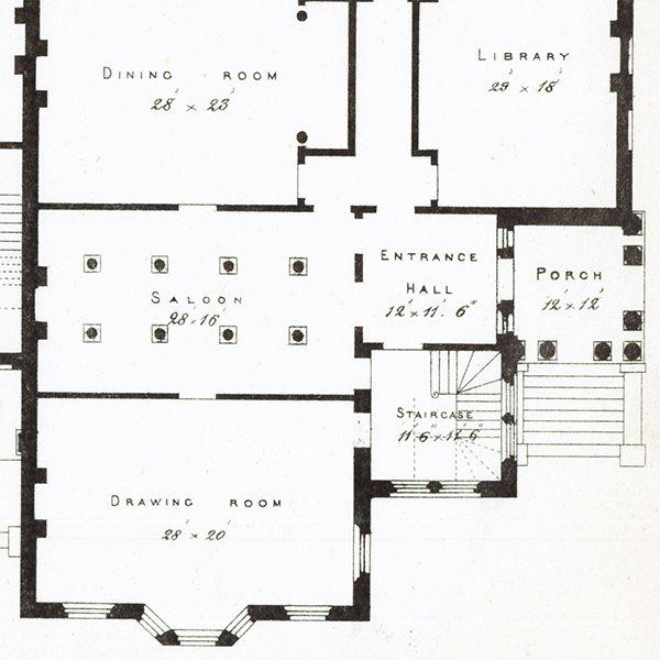 アンティークプリント 建築設計図 Villa Residences.