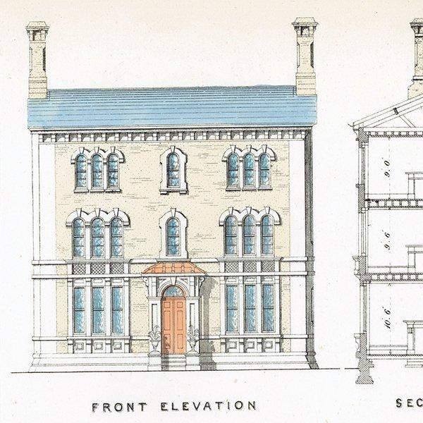 アンティークプリント 建築設計図 CISTERN