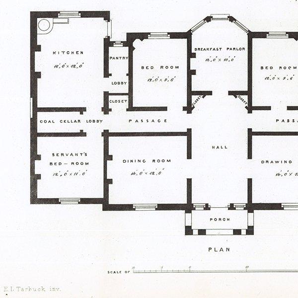 アンティークプリント 建築設計図 Small Villa