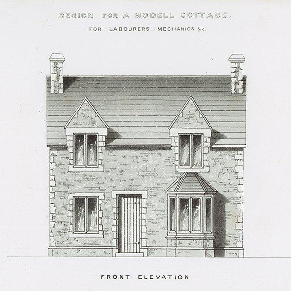 アンティークプリント 建築設計図 MODELL COTTAGE