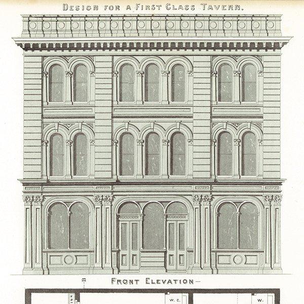 アンティークプリント 建築設計図 First Class Tavern
