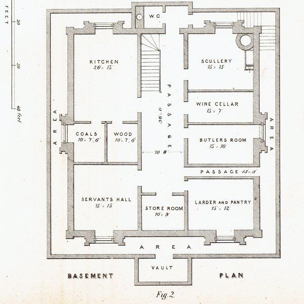 アンティークプリント 建築設計図 Plate55