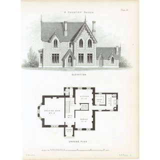 アンティークプリント 建築設計図 Country House