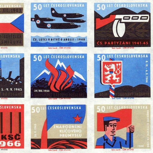 チェコのマッチラベル(未裁断)チェコスロバキア50年の歴史