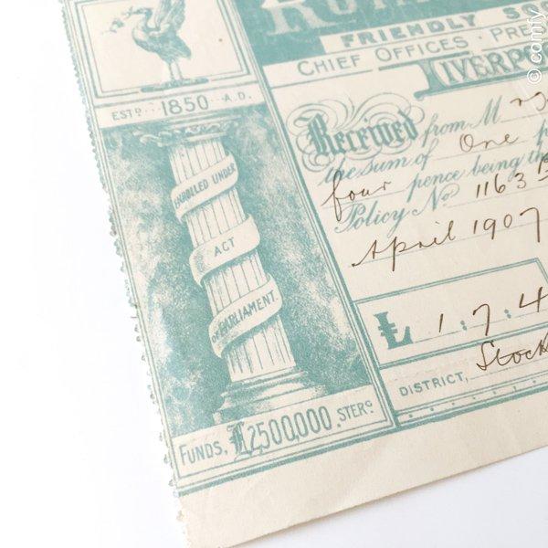 イギリスの古い手書き書類(保険会社:ロイヤル・リバー)