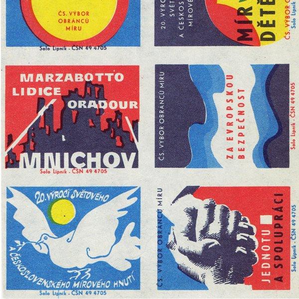 チェコのマッチラベル(未裁断)平和を守る人たちの会