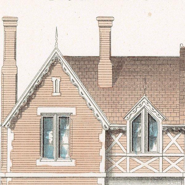 アンティークプリント 建築設計図 Desiign for a Cottage Residence