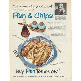イギリスの古いヴィンテージ広告 フィッシュ&チップス 026