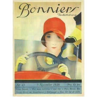 スウェーデンの古い雑誌表紙(アンティークプリント) Bonniers 1929-11-3 Nr45 028