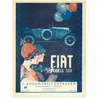 スウェーデンの古い雑誌広告(アンティークプリント) FIAT MODELL501 034