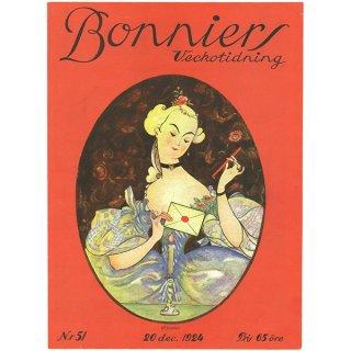 スウェーデンの古い雑誌表紙 Bonniers 1924-12-20 Nr51 044(アンティークプリント)