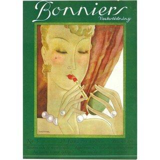 スウェーデンの古い雑誌表紙 Bonniers 1929-1-27 Nr5 048(アンティークプリント)