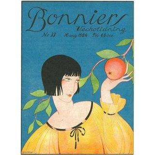 スウェーデンの古い雑誌表紙 Bonniers 1924-8-16 Nr33 053(アンティークプリント)