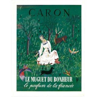 フランスの雑誌広告 1950年代 Caron(キャロン)の香水 007(アンティークプリント)