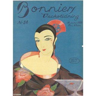 スウェーデンの古い雑誌表紙 Bonniers 1924-6-14 Nr24 067(ヴィンテージプリント)