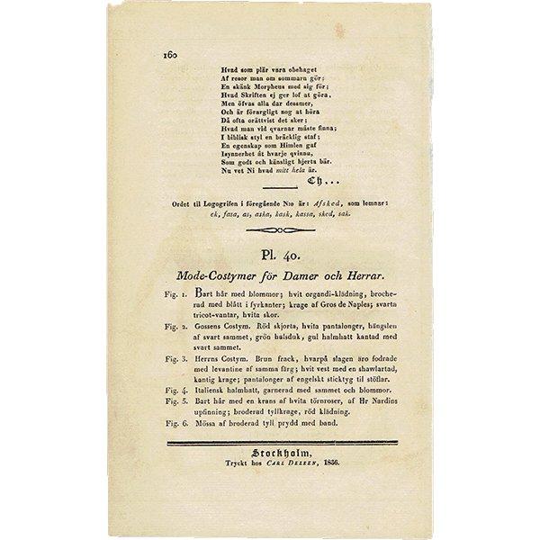 ファッションプレート 1830年代スウェーデン Pl.40 027(アンティークプリント)