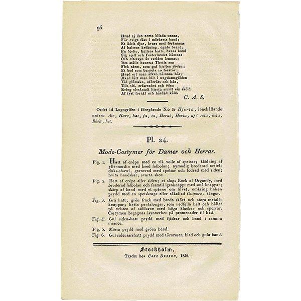 ファッションプレート 1830年代スウェーデン Pl.24 031(アンティークプリント)