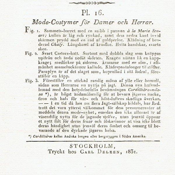 ファッションプレート 1830年代スウェーデン Pl.16 038(アンティークプリント)