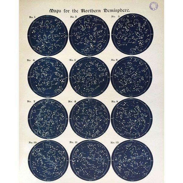 アンティーク星座チャート北半球(天文学)ウィリアム・ペック著