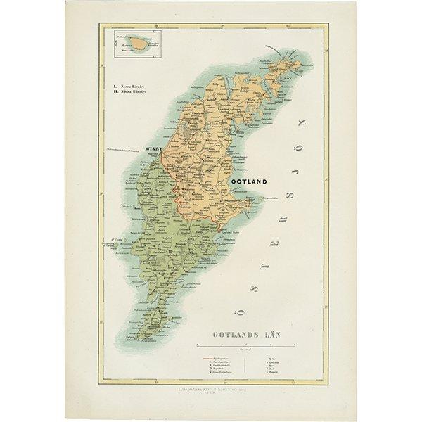 スウェーデンのアンティークマップ(古地図) ゴットランド島 001