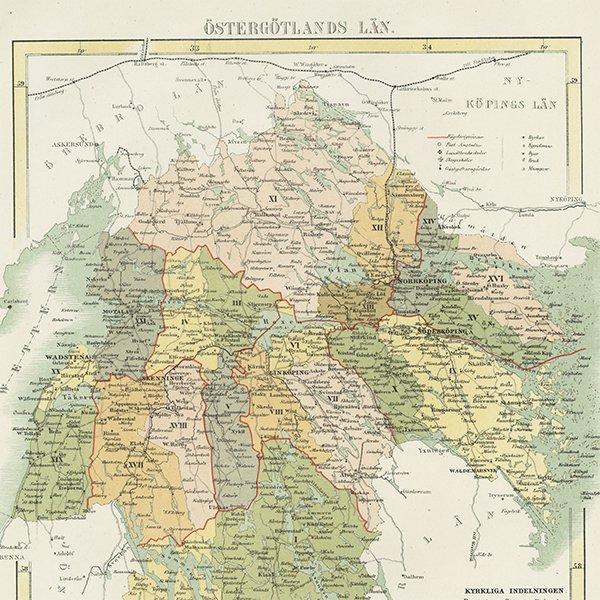 スウェーデンのアンティークマップ(古地図) エステルイェータランド 002
