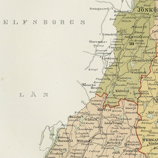 スウェーデンのアンティークマップ(古地図)ヨンショーピング 007