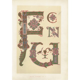 イギリスアンティークプリント タイポグラフィ/アルファベット 0026