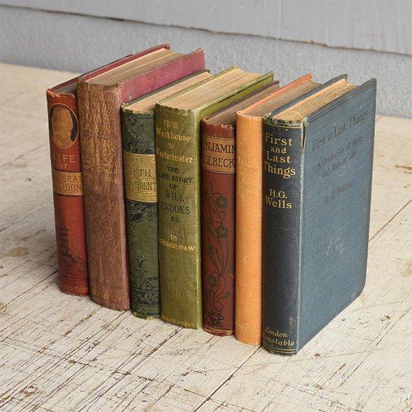 アンティーク ブック 本 洋書 7冊セット ディスプレイ 8270